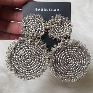 NEW BAUBLEBAR SILVER ROUND STATEMENT EARRINGS